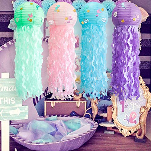 4 pcs/set Jelly Fish Paper Lanterns Kit, Green Pink Purple Blue Cute Hanging Mermaid Wishes Lantern, 4 Pack Baby Shower Child Birthday Party Decoration Lamps Set, Undersea Event Party Supplies