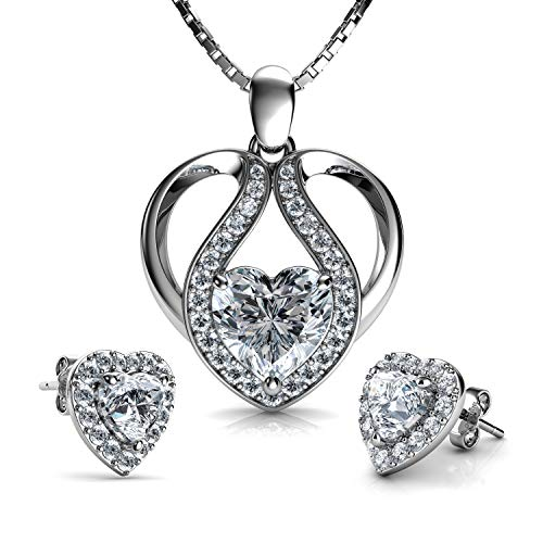 DEPHINI - Cute Necklace & Heart Earrings SET - 925 Sterling Silver - CZ Crystal Studs & Pendant - 18' Rhodium Plated Silver Chain
