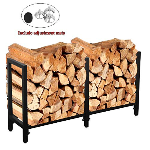 Ucared Firewood Racks Heavy Duty Log Rack 47 Inch Indoor/Outdoor Fire Wood Storage Black Steel Firewood Log Holder