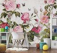 Wkxzz 壁の背景装飾画 3D壁紙花植物壁画リビングルームの寝室の結婚式の家の背景の壁ロマンチック-280X200Cm
