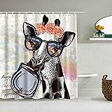 PbbrTK Personalisierter Duschvorhang,Tiergiraffe mit Girlande Nettes animiertes Aquarell,wasserabweisender Badvorhang für das Badezimmer 180 x 180cm