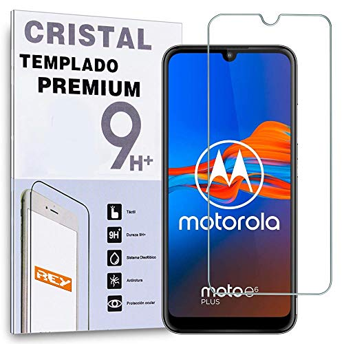 REY Protector de Pantalla para Motorola Moto E6 Plus, Cristal Vidrio Templado Premium