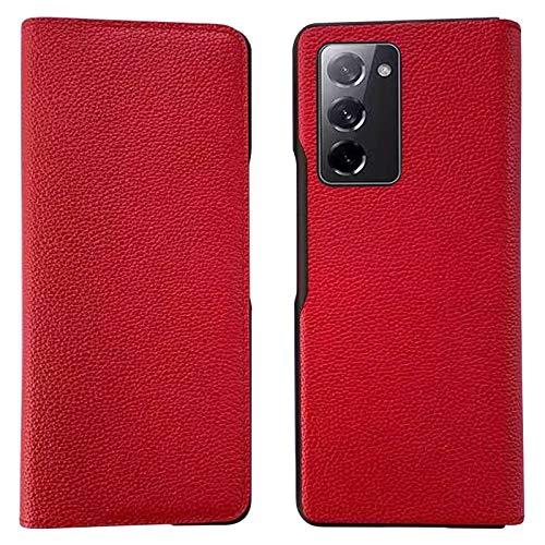 XJZ Compatibile con Samsung Galaxy Z Fold 2 5G Smartphone Cover[2020]+3D Pellicola Protettiva in Vetro Temperato/Custodia Pelle Premium Slot Schede Magnetica Flip Protezione Case Cover Supporto-Rosso