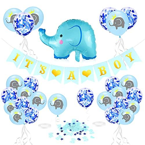 Babyparty Deko Junge, Baby Shower Dekoratione, Babydusche Party Luftballons, It's A Boy Girlande Elefant Luftballons Blau mit It's A Boy Konfetti für Taufe Deko Junge Baby Geburtstag Dekoration
