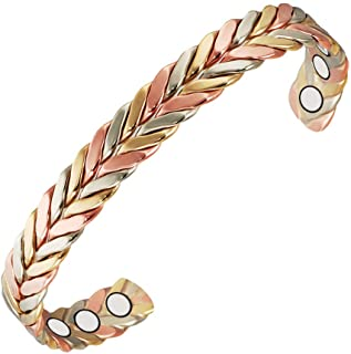 Magnetic Copper Bracelet for Men 6.5'' Triple Cuff Braided Women for prevent Arthritis with 6 Magnets Cuff Copper Bangle o...
