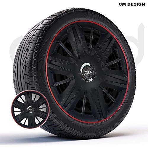 CM DESIGN 4 x 16 Zoll Maximus GTR schwarz rot Auto-Radkappen Radzierblenden