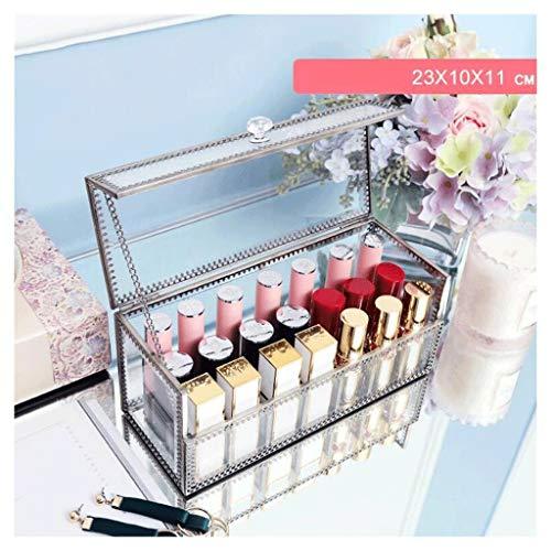 Étui de Maquillage Boîte de rangement en verre transparent cosmétique grande capacité rouge à lèvres rack antipoussière avec couvercle en métal cadre non acrylique bureau commode salle de bain rectang