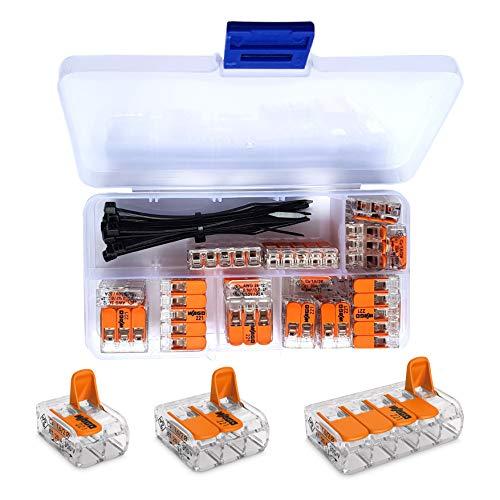 WAGO Klemme 25 Stück Set Sortiment 10x 221-412 | 10x 221-413 | 5x 221-415 Klemmen mit intervisio Kabelbinder 80mm