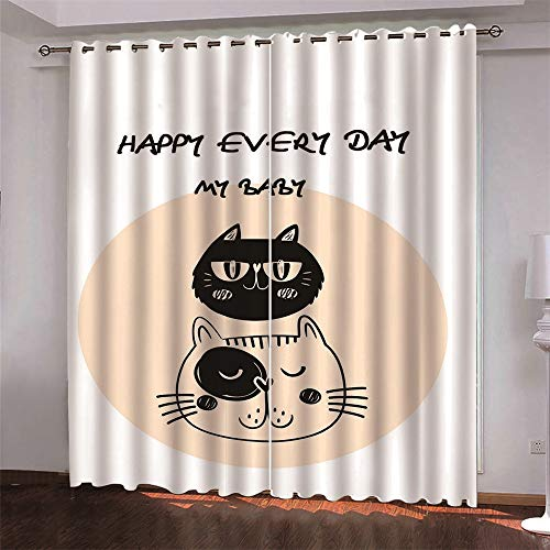 MMHJS Nordic Thick Polyester Curtains 3D Digital Animal Printing Curtains, Hotel Bedroom Living Room Partition Cloth Waterproof (2 Pieces)