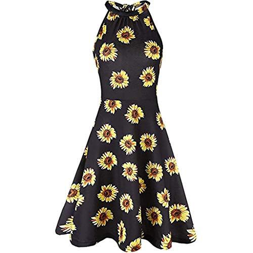LILIHOT Frauen drucken ärmelloses O-Neck Casual Zipper Minikleid Sommerkleid Damen Blumen Kleid Ärmellos Kleider Lange Dress Party Club Strandkleid Elegan Sommerkleid