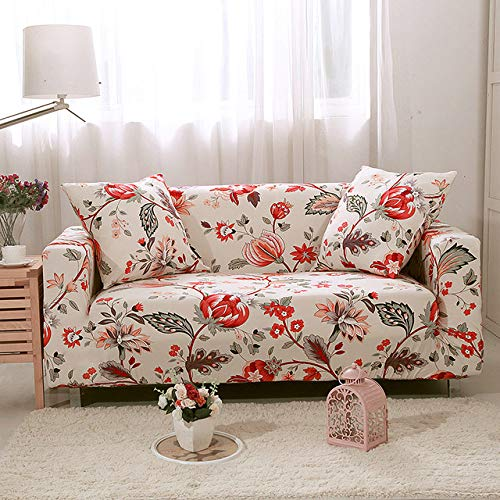 DSHRTY Funda de sofá,Lotus Printing Stretch Sofa Cover Restaurant Banquet Hotel Home Decoration Couch Cover for 1/2/3/4 Case for Sofa,QANSlipcover,Other