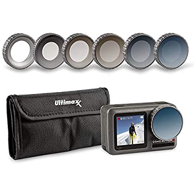 Ultimaxx's 8 Piece Waterproof Filter Kit for Osmo Action Camera (UV, ND4, ND8, ND16, ND32, CPL Filters) Made of Optical Glass and Aluminum Frame; Includes Carrying Case and Cleaning Cloth from Ultimaxx