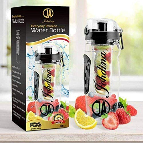 JOHDINA Everyday Fruit Infuser Water Bottle 32oZ Large and Durable BPA Free Tritan,Flip Lid,Leak Proof Design For Sports Good for Both Adults and Kids/Camping Detoxification