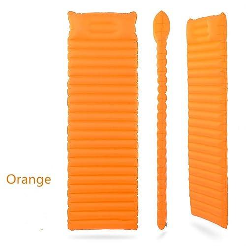 Rentlooncn Coussin Gonflable de Remplissage Rapide Ultra léger de Matelas avec l'oreiller innovant de Coussin de Sommeil 186cmx60cmx8cm Orange