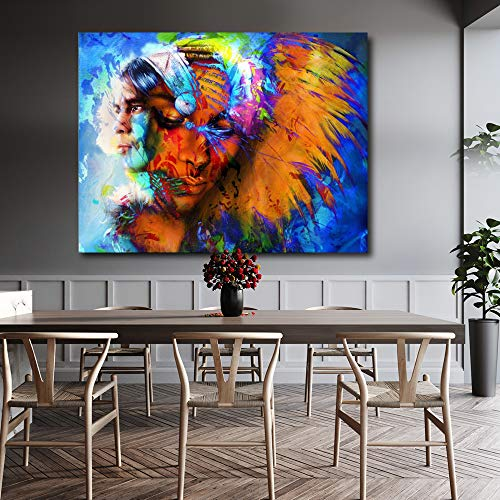 HD abstrakte Wandkunst Bilder für Wohnzimmer Indianer Mann und Feder Frau Coole Leinwand Malerei Home Decor Poster 60x90cm