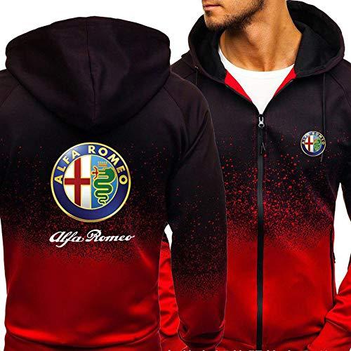KeepFire Pullover con Cappuccio da Uomo per Alfa Romeo Felpa con Cappuccio con Cappuccio Caldo Cuciture A Manica Lunga Casual Sport con Cerniera con Cerniera Giacche B-Large