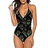 Lovely-Star Damen Sexy Vintage Monokini Body Einteiler Badeanzug Frauen Sommer Badeanzug Gr. S, armee-grün