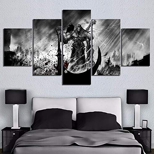 ZHFFYY Anime Game Poster Canvas Painting 5 Panels 5 Pcs Black and White Painting Death Knight Picture Wall Sticker Game Poster Canvas Painting for Home Decor Wall Art Boys Room