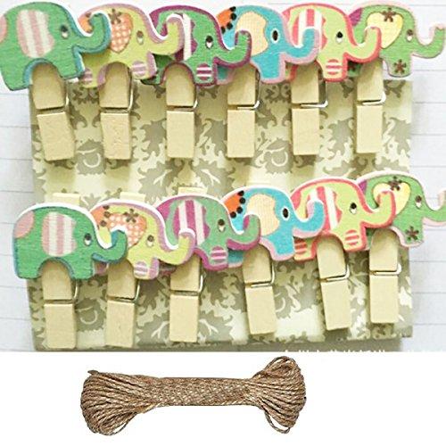 Mini Wäscheklammern aus Holz Bunt Clips für Postkarte Fotopapier Kleiderroller mit 1,4 M Jute Twine (Tiere Motiv)