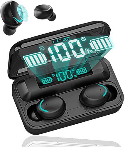 Auricolare Bluetooth, auricolare Bluetooth stereo con scatola di ricarica, riduzione del rumore del microfono integrato e auricolare wireless sportivo a prova di sudore, adatto per esercizi di fitness