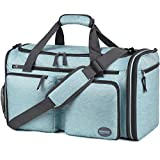 Foldable Sports Gym Bag with Wet Bag & Shoes Compartment, Travel Duffel for Men and Women (Light Mint Green)