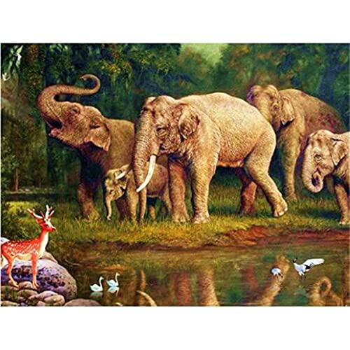 5D DIY Diamond Painting Full drill Kit Elefante animal del bosque Diamante Pintura Adultos Rhinestone Punto de Cruz Bordado Manualidades para Decoración de Pared Hogar regalo Round_Drill_80x100cm