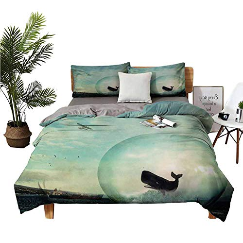 Four-Piece Bedding Bed Sheets Queen Set Flat Sheet Environmental Image with a Whale in an Egg Near an Oil Tank and Plane Artwork Multi Colored Soft Comfortable W80 xL90