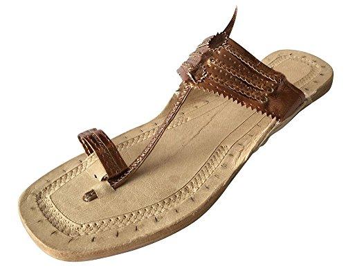 Step n style, sandali in pelle, stile indiano, fatti a mano, sandali Kolhapuri, Mojadi, Jutti, Kurti, (Light Copper), 38