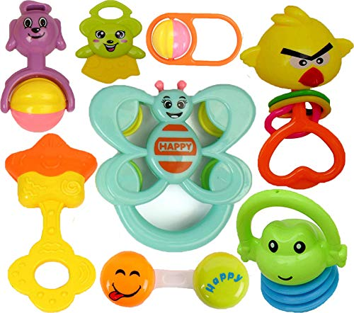 Learn With Fun Colourful Plastic Non Toxic Set of 8 Teether and Rattle for New Borns and Infants