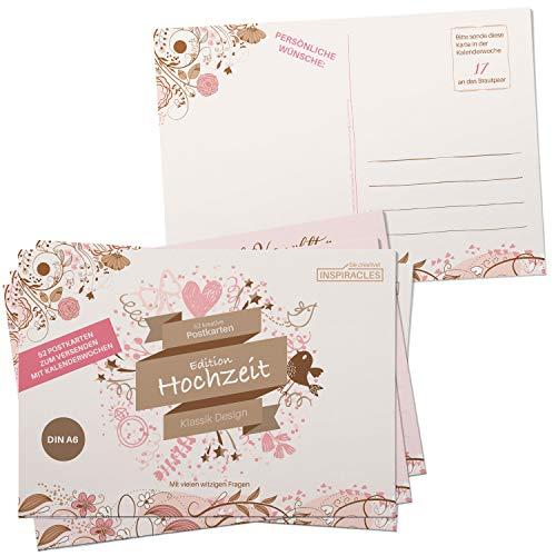 Inspiracles 52 Postkarten Hochzeit Gästebuch Alternative - DIN A6 Vintage Karten zum Ausfüllen und...