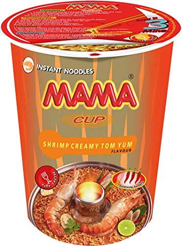 MAMA cremige Instant-Cup-Nudeln Tom Yum mit Shrimpsgeschmack – Instantnudelsuppe orientalischer Art – Authentisch thailändisch kochen – Enthält Gabel – 2 x 8 à 70 g