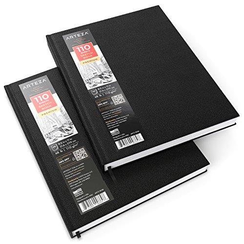 Arteza Quaderno da Disegno Rilegato a Filo 21,6x27,9 cm, Confezione da 2 Block Notes da 110 Fogli Ciascuno, Taccuino Professionale con Copertina Rigida, Perfetti per Principianti ed Esperti