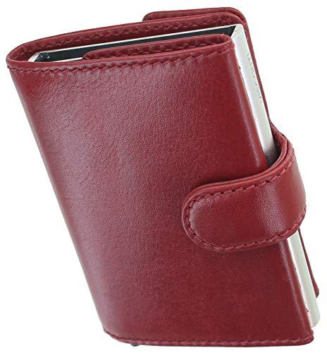 Visconti Cartera de cuero con mecanismo de tarjeta deslizante bloqueo RFID MZ24, Red (Rojo) - MZ24