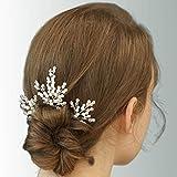 IYOU Forcine per capelli da sposa in cristallo con perle argentate accessori per capelli da sposa per donne e ragazze (confezione da 3) (argento)