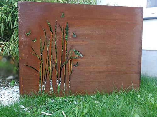 Zen Man Edelrost Garten Sichtschutz Wand Rost Sichtschutz aus Stahlblech Rost Gartenzubehör L100*H75cm 1mm