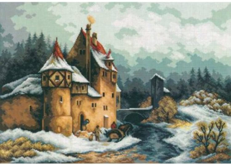Jagdschloss ca. 50 x 70 cm Gobelinstickbild-Packung mit Schurwoll-Stickgarn B00F1YN8UO