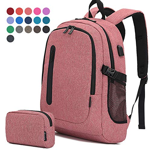Travel Laptop Business Backpack Anti Theft College Computer Bagpack Keyhole zipper Design Fits 156 Inch Notebook with USB Charging Port amp Reinforce Straps Bonus a Small pencil Case Light red