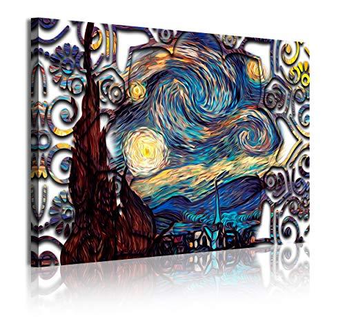 DekoArte 343 - Cuadros Modernos Impresión de Imagen Artística Digitalizada | Lienzo Decorativo para Tu Salón o Dormitorio | Estilo Abstractos Arte Van Gogh La Noche Estrellada | 1 Pieza 120 x 80 cm