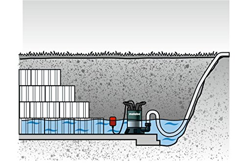 Metabo 4003665502250 80250800000-Bomba Sumergible para Agua Limpia TP 8000 S 350W Altura máx. Bombeo 7 m, Negro, Size