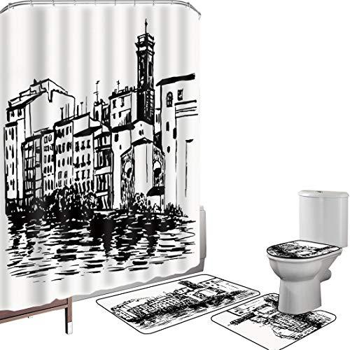 Set di tende per doccia Accessori il bagno tappeti europeo Tappetino da bagno con tappetino per WC Immagine della città turistica delle costruzioni storiche disegnate a mano di stile di schizzo della
