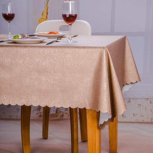 Yinaa Rectangular Mantel de Lavable Estilo Moderno Resistente Al Desgaste Anti Escaldado Tamaño Seleccionable de Cocina Salón Un Champán 100×160cm
