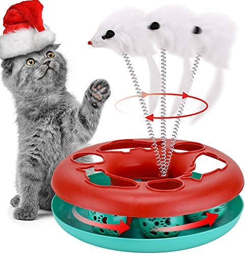 Cat Toys Cat Toys for Indoor Cats Interactive Kitten Toys Roller Tracks with Catnip Spring Pet product image