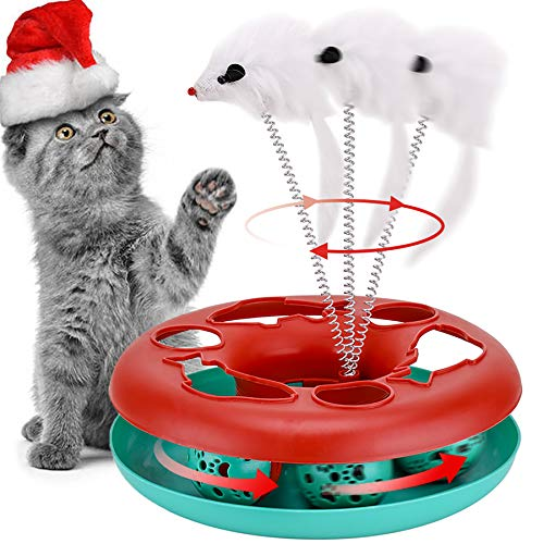 Cat Toys, Cat Toys for Indoor Cats,Interactive Kitten Toys Roller Tracks with Catnip, Spring Pet Toy with Exercise Balls Teaser Mouse