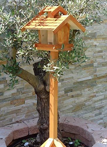 vogelhaus mit ständer, BTV-X-VOVIL4-MS-dbraun001 NEU PREMIUM Vogelhaus !!! KOMPLETT mit Ständer !!! wetterfest lasiert, Qualität Schreinerware 100% Massivholz – VOGELFUTTERHAUS MIT FUTTERSCHACHT-Futtersilo Futterstation Farbe braun dunkelbraun behandelt / lasiert schokobraun rustikal klassisch, MIT TIEFEM WETTERSCHUTZ-DACH für trockenes Futter - 2