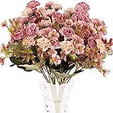 XHXSTORE 4pcs Flores Artificiales Claveles de Seda Ramo de Flores Artificiales 5 Ramas con 11 Flores para Decoración Boda Jarrones Hogar Centro de Mesa