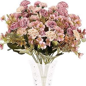 XHXSTORE 4pcs Flores Artificiales Claveles de Seda Ramo de Flores Artificiales Rosa 5 Ramas con 11 Flores para…