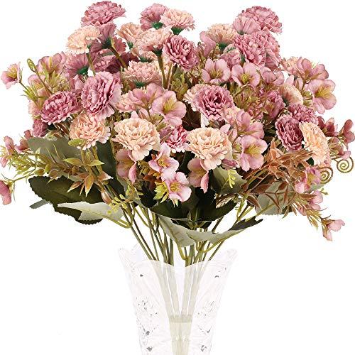 XHXSTORE 4 Pcs Künstliche Blumen Deko Kunstblumen Hortensien künstlich Pfingstrose Blumenstrauß Seidenblumen Plastik Blume für Hochzeit Balkon Garten Blumenkasten Party Tischdeko Rosa
