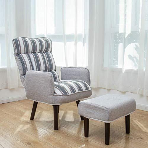 N/Z Home Equipment Stripe Cabrio Sofa Couch Single Recliner Stuhl Sleeper Chair Lounge Sitzgelegenheiten Chaise Möbel mit Hocker mit modernem Leinenstoff für kleinen Raum Home Living Room Balkon Blau
