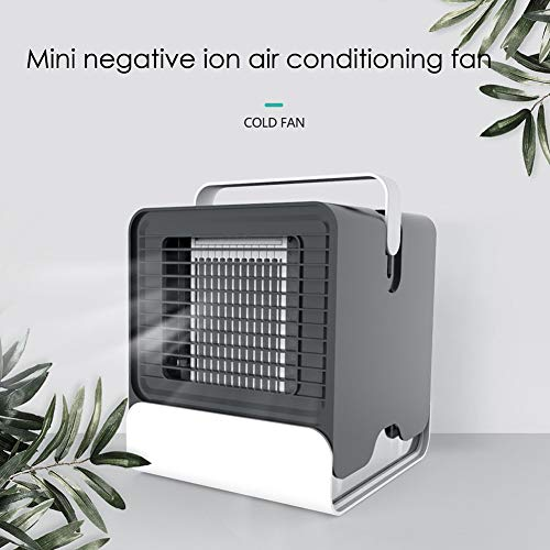 Schimer Aircooler/mobiele airconditioning, luchtreiniger, ventilator, airconditioning, luchtbevochtiger, luchtverfrisser en luchtverfrisser met USB-kabel, 3 snelheden zwart