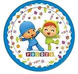 CAPRILO Lote de 40 Platos Infantiles Decorativos de Cartón Pocoyo y Niña. Vajillas. Juguetes y Regalos Baratos para Fiestas de Cumpleaños, Bodas, Bautizos, Comuniones y Eventos.